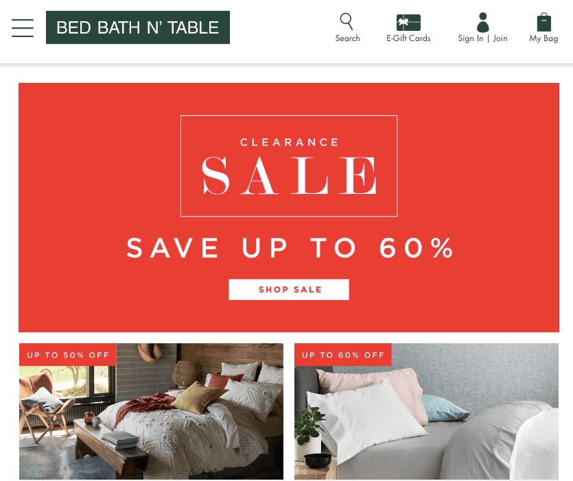 Bed Bath N' Table January sale deals offers