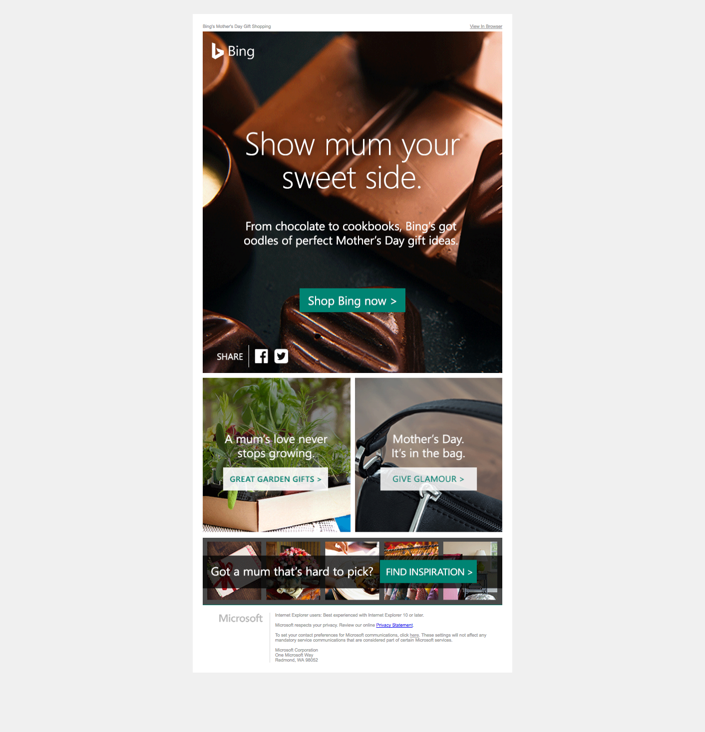 Bing Mothers Day Gift Shopping e-newsletter-April16 email marketing example