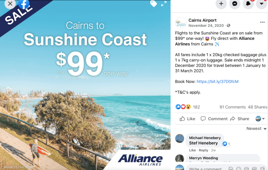 Cairns Airport January sale deals offers Sunshine Coast flights Alliance Airlines Queensland Australia