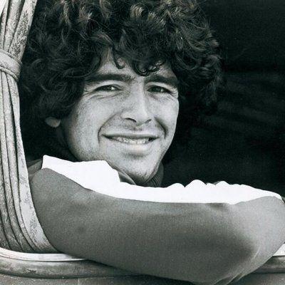 Diego Maradona smiling black white