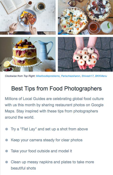 Food Photography tips Google Local Guides Connect July 2017