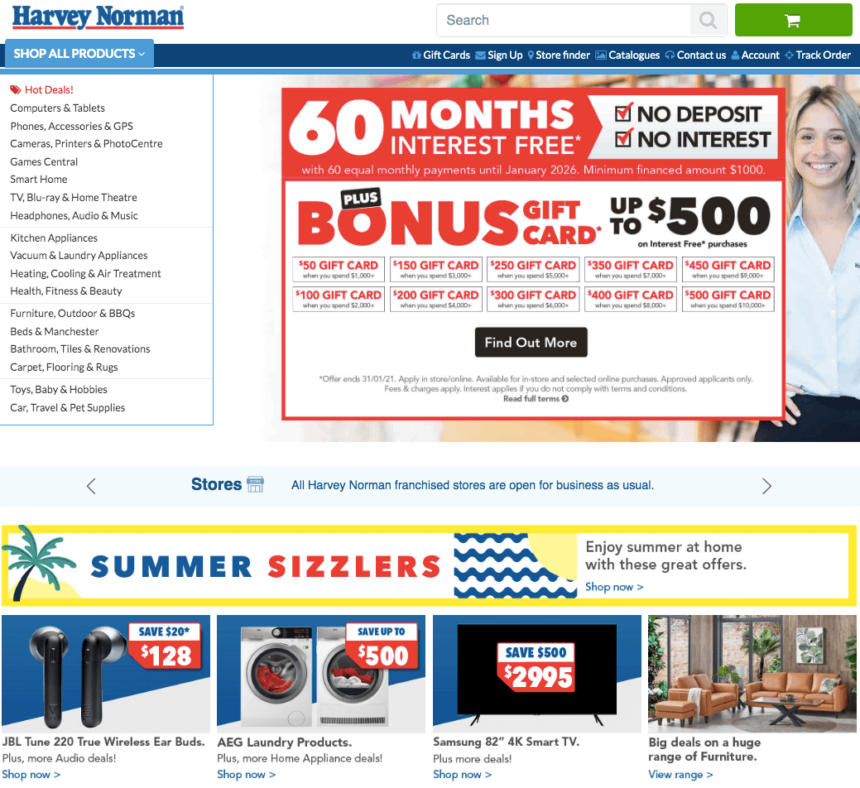 Harvey Norman january sales offers deals laptop gaming