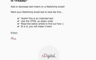 How to add increase text indent mailchimp email