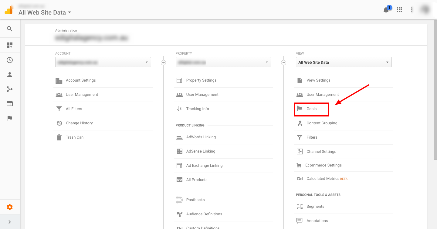 How to configure goals google analytics click on goals heading