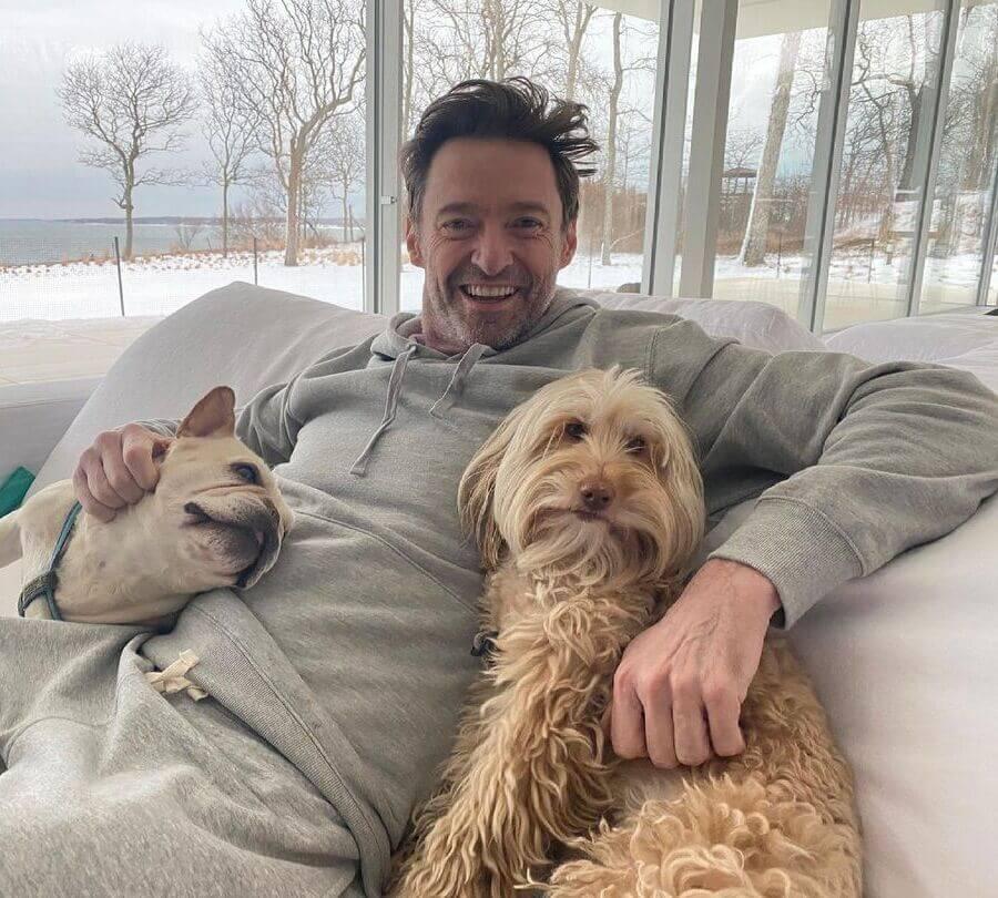 Hugh Jackman dogs smiling