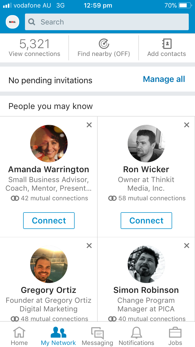 LinkedIn app find nearby members off mobile phone