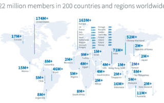 Linkedin users 2021 worldwide by country map