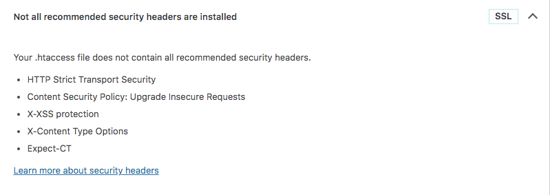 Not all recommended security headers are installed WordPress warning SSL