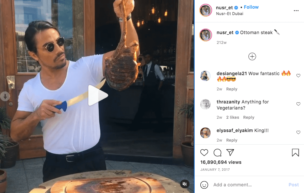 Nusret Gokce Salt Bae Ottoman Steak Instagram video 16 million views