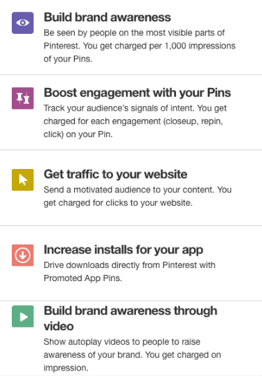 Pinterest ads campaign goals objectives