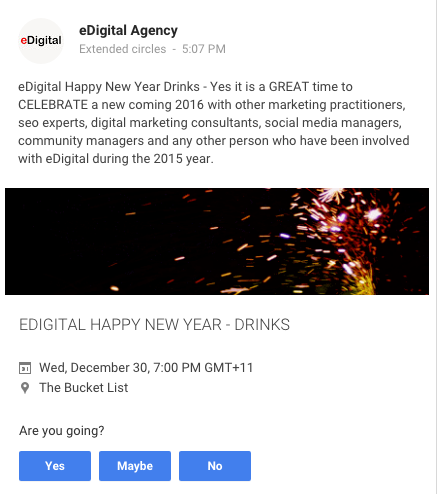 Posting event google plus post