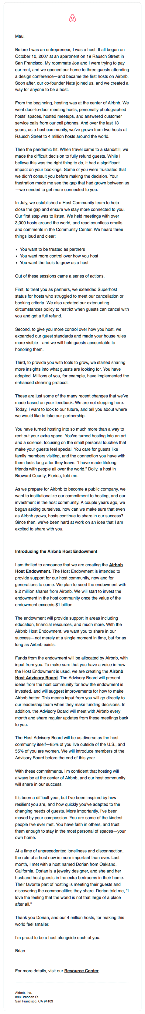 Product launch email template - Endowment announcement airbnb