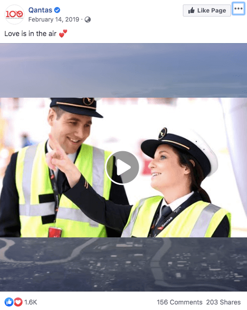 Qantas love is in the air video facebook post married employee couple story valentines day promotion