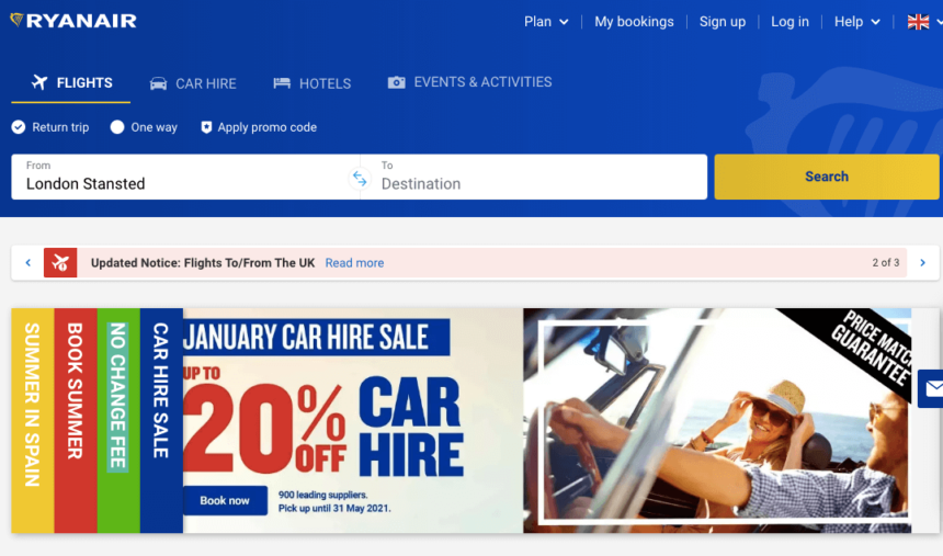 Ryanair January sale deals offers car hire flights