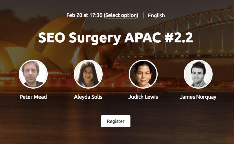 SEO surgery APAC free live webinar semrush feb 2019