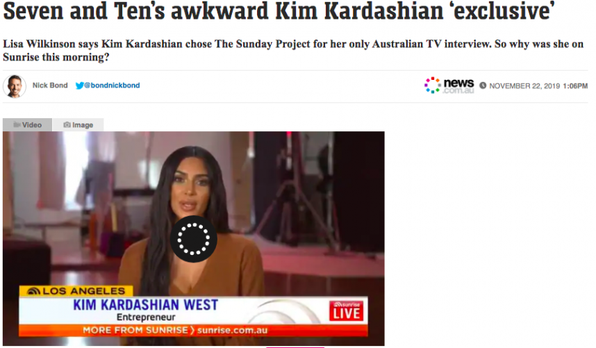 Sunrise and The Sunday Project both touting kim kardashian interview as an exclusive