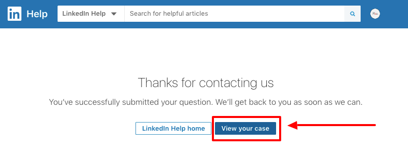View your case button LinkedIn