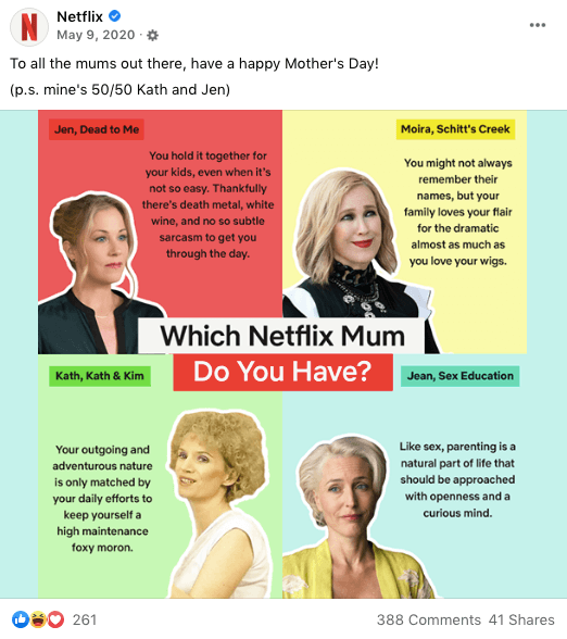 Which Netflix Mum do you have - Facebook post Mothers Day