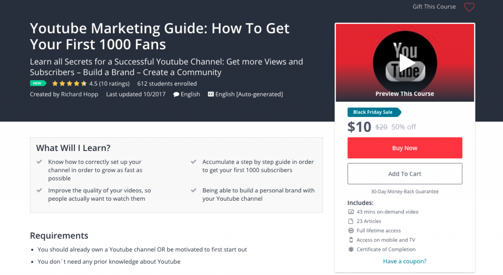 Youtube Marketing Guide How To Get Your First 1000 Fans Udemy
