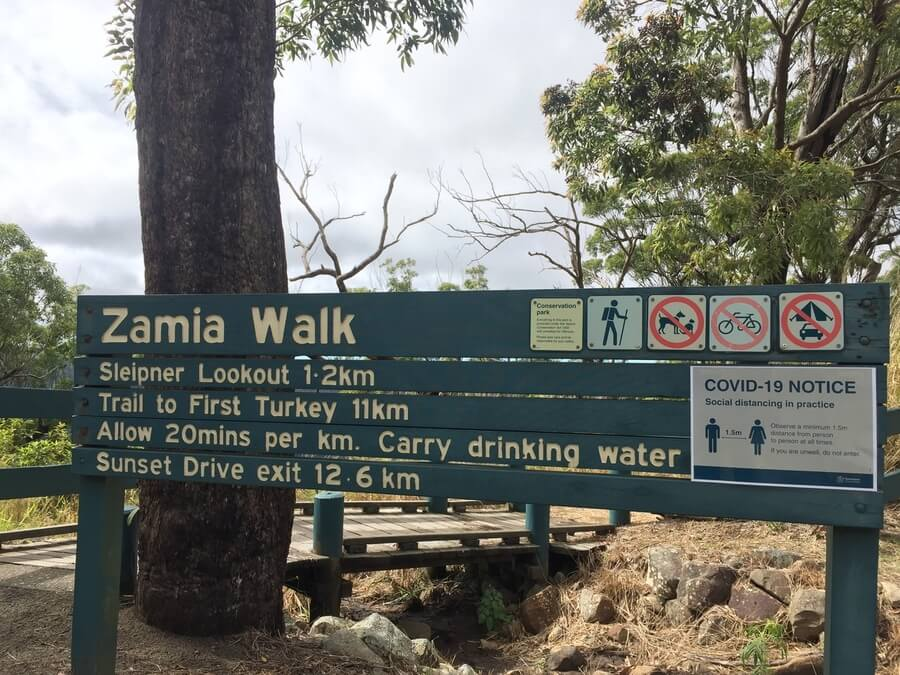 Zamia Walk Sunset Drive exit 12.6 km sign Mount Archer National Park Rockhampton Queensland