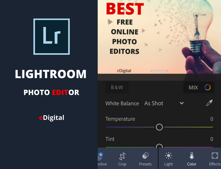 adobe lightroom app screen photo editor