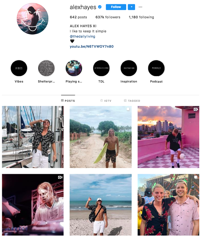 alex hayes surfing australians most followers instagram ranking list