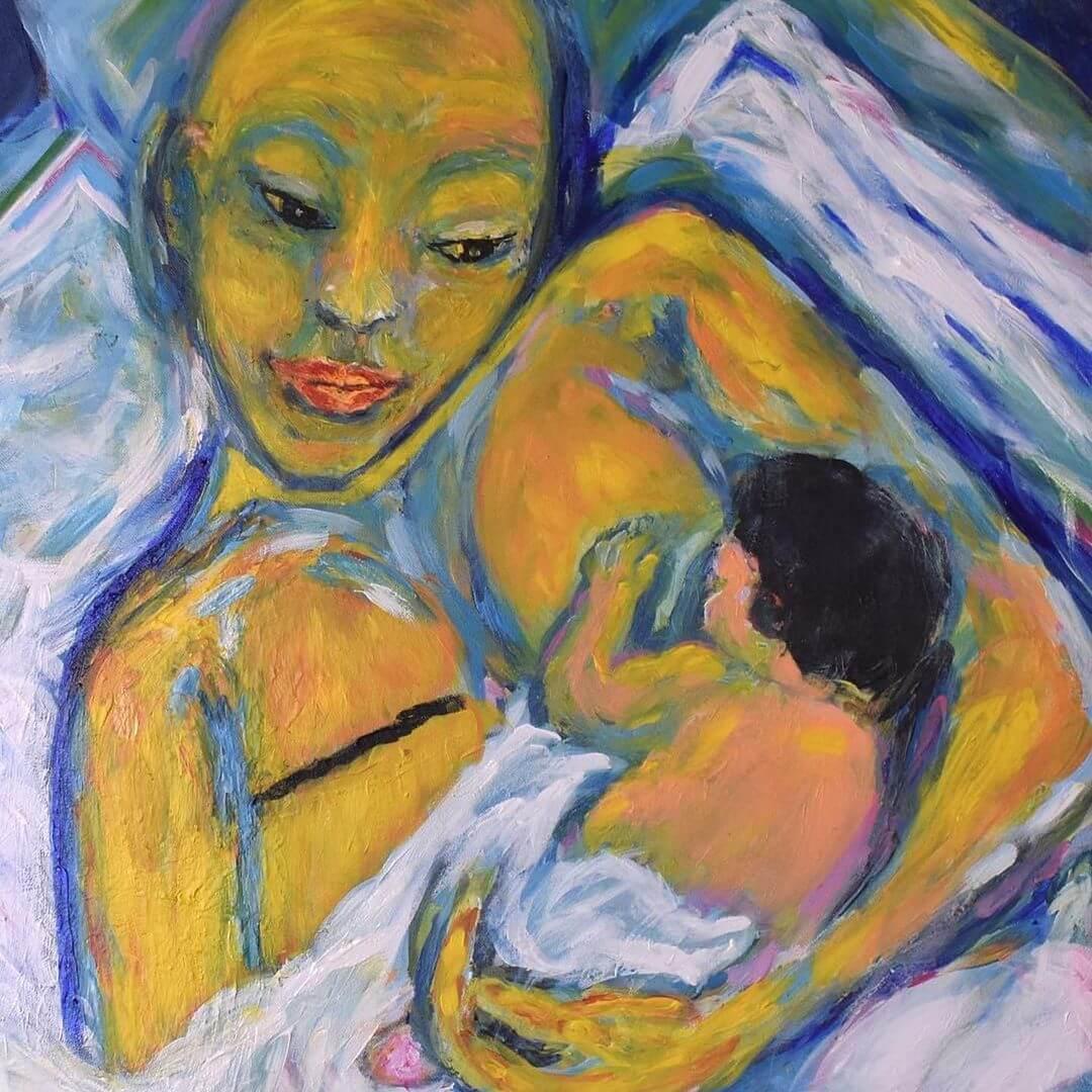 aliko_alina instagram breastfeeding painting