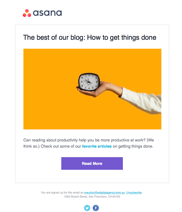 asana enewsletter email- marketing automation blog scheduled how get things done edigital