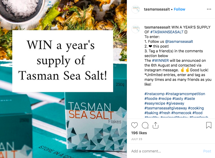 best instagram contest example - win year of sea salt supply 400 plus comments