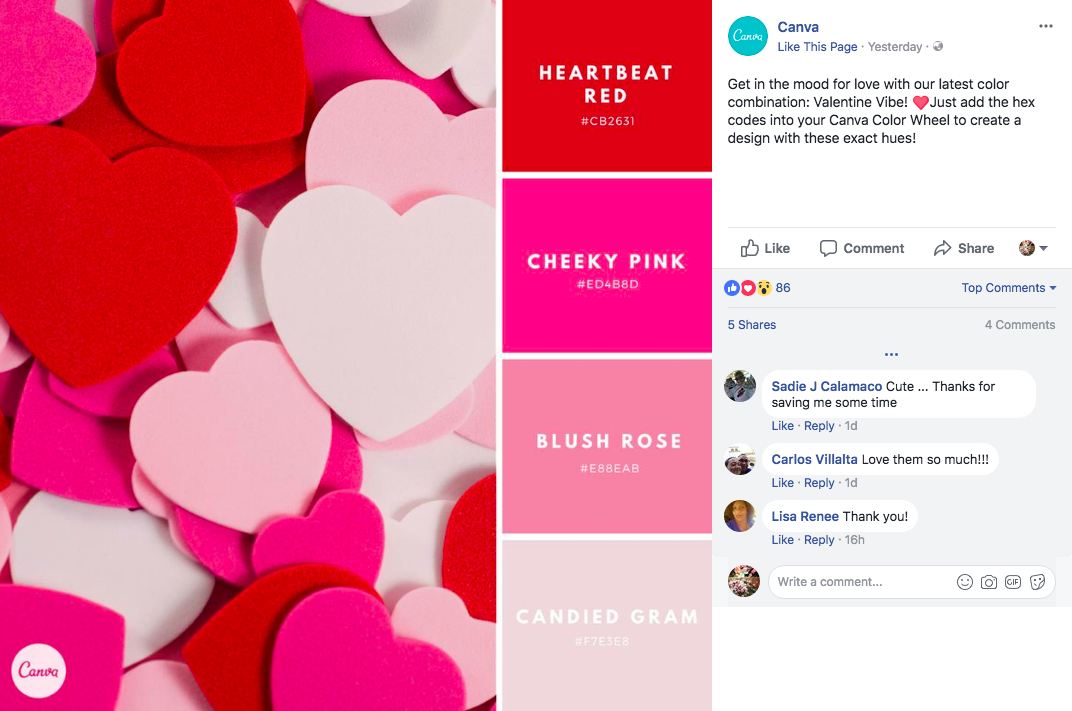 canva valentines day colour combinations facebook post