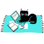 cat laptop rug book red glasses illustration