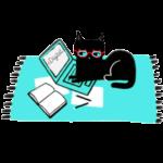 cat laptop rug book red glasses illustration