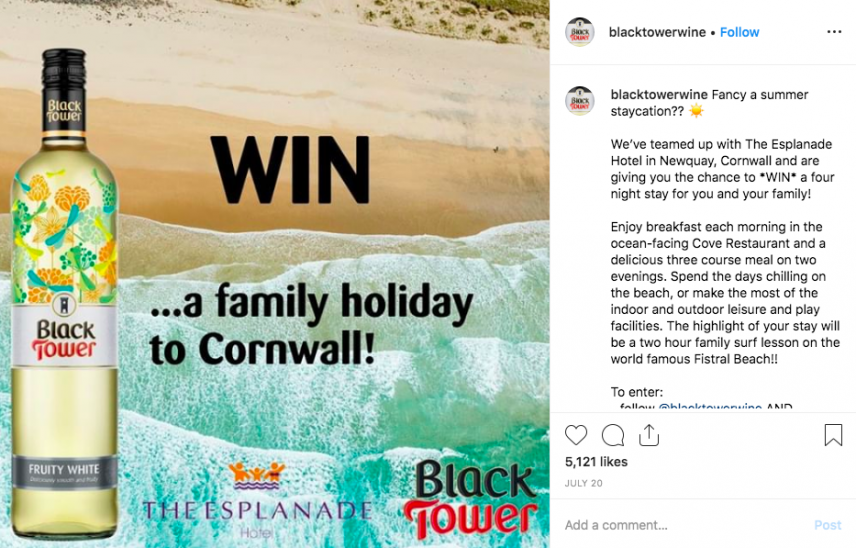 cool instagram contest example - black tower wine the esplanade hotel four night stay accommodation giveaway 1989 comments