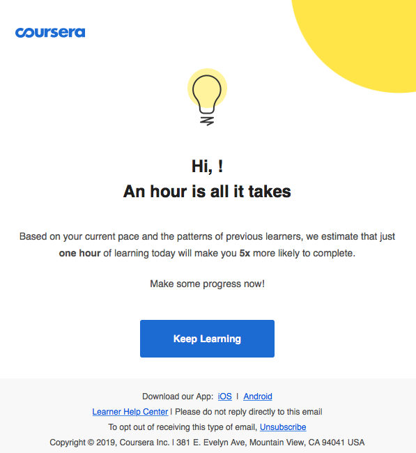 coursera first reminder to complete course