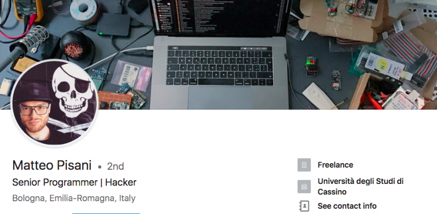 creative linkedin background cover photo image - matteo pisani senior programmer hacker