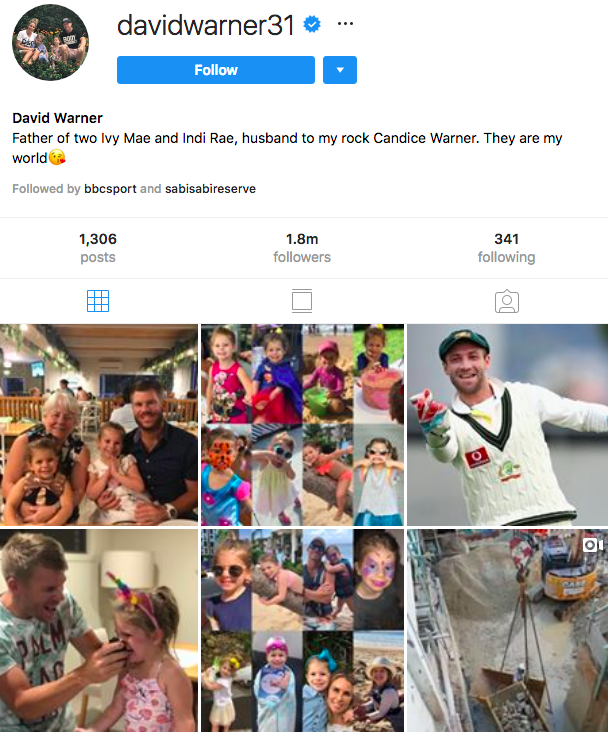 david warne - australians with most followers on instagram