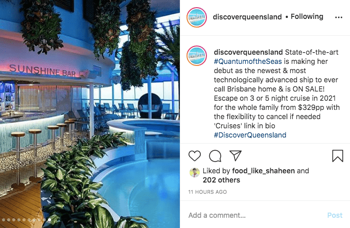 discover queensland instagram post cruise ship promotion october 2020