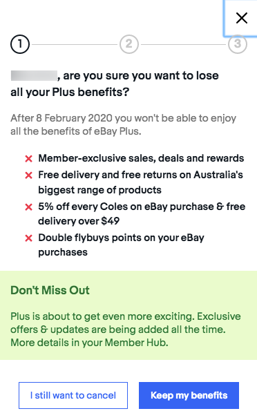 ebay plus cancelation benefits pop up window