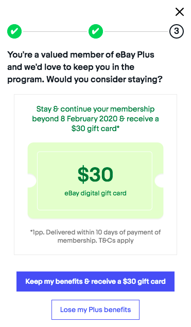 ebay plus cancelation offer $30 gift card pop up
