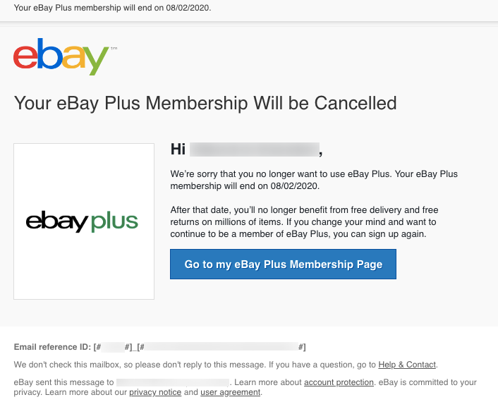 ebay plus membership cancellation email notification automation