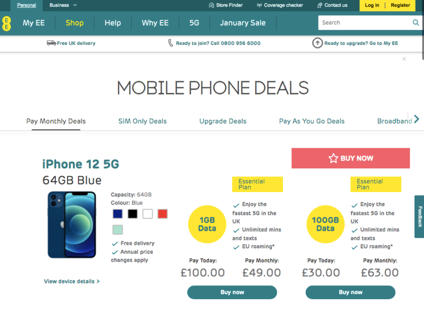 ee january sales deals offers