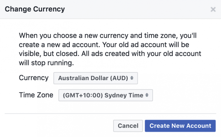 facebook advertising account change currency alert pop up