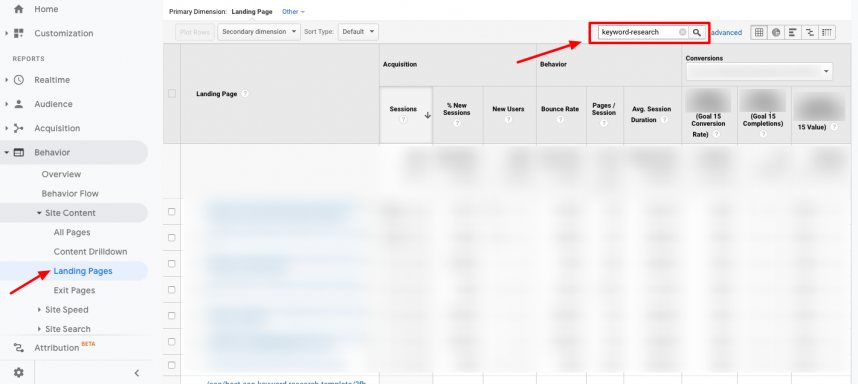 google analytics search top landing pages