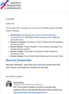 growth marketing conference contest email follow up
