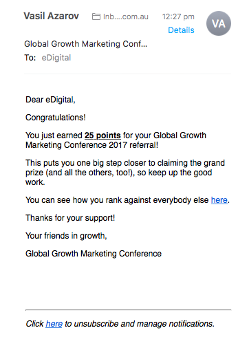 growth marketing conference contest entry points congratulation email
