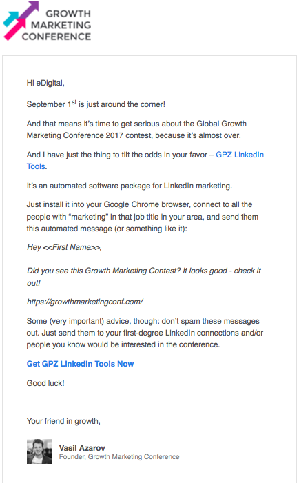 growth marketing conference email gpz linkedin tool