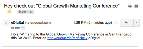 growth marketing conference referral email