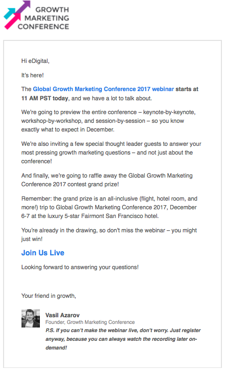 growth marketing conference webinar invitation email september 2017
