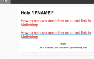 HOW TO REMOVE UNDERLINE ON TEXT LINK ON MAILCHIMP