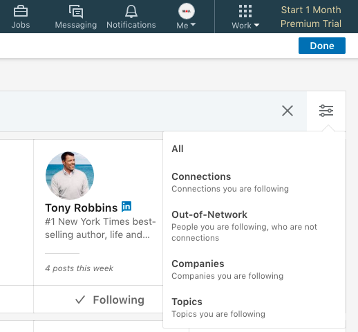 how to find people i follow on LinkedIn